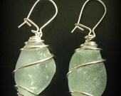 Seafoam Green Sea Glass Earrings - Wire Wrapped - Sterling Silver Lever Earwires, Seaglass Jewelry
