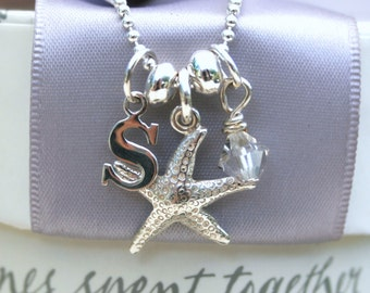 Sterling Initial and Charm Necklace - Sterling 18in chain