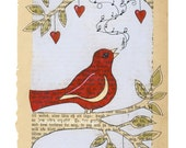 Red bird  -  Print -  Singing bird on branch - Nursery art interior illustration for home decor