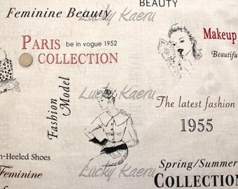 Suzuko Koseki, Fashion Collection on Beige Japanese Fabric  - Half Yard