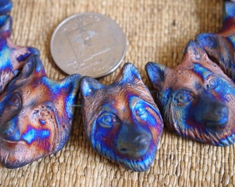 One IRIDESCENT Clay Ceramic Matte Raku Wolf Bead