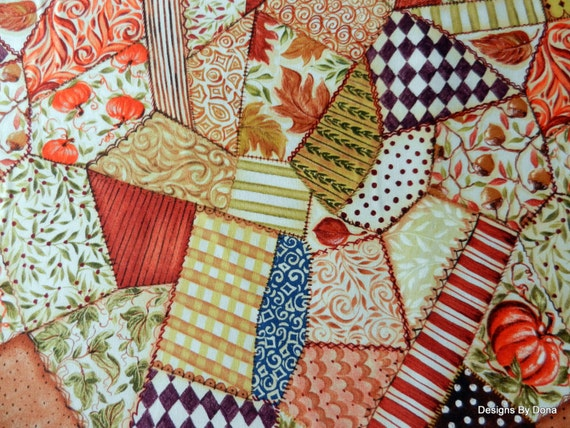 Crazy Quilt Pattern Fabric : One Fat Quarter Quilt Fabric Fall Cheater Cloth Crazy Quilt