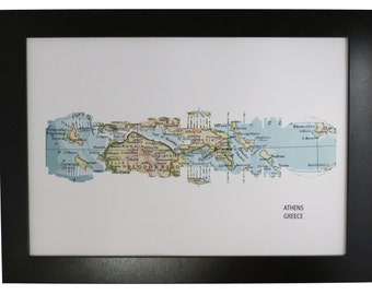 Athens Greece City Skyline Print with vintage map