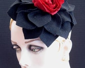 Black Felt Flower Headpiece With Red Fabric Rose On Sale