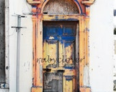 Old Door, Portaferry, Co. Down, NORTHERN IRELAND, Beautiful Old DISTRESSED Doorway, Worn, Painted Wood, Vibrant Colors,Orange,Blue,Norn Iron