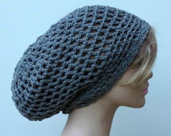 Larger gray Hemp cotton Hippie Dread Tam Snood hat slouchy beanie grey