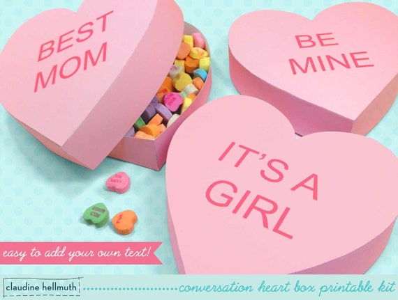 Conversation Heart Gift Boxes Fits Candy Cookies Favors