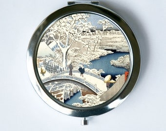 Japanese Woodblock Snow Compact Mirror Pocket Mirror