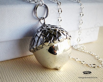 Large Lucky Acorn Mom To Be Necklace Mexican Bola 36 in. Chain 925 Sterling Silver P69LCH67