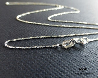 2 pcs 18 inch Sterling Silver 0.55mm Dainty Box Chain Finished Necklace Italy- FC23