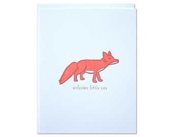 Welcome Fox Letterpress Card