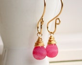 Valentine's Sale. Fancy Faceted Pink Jade Drop Earrings. Earrings. Dangle Earrings. Pink Earrings. Drop Earrings.