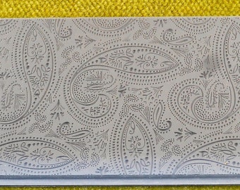 MIHENDI FINELINE  Intricate Texture Tile Embossing Rubber Stamp Clay Wax Paisley   TTL-804