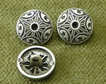 Domed Big Top Circus Button Antique Silver and Black Reticulated   6019  B9