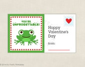 Froggy printable Valentines - DIY Instant download file