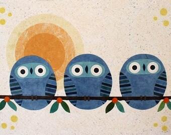Three Tundra Owls