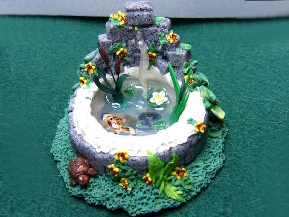 Whimsical terrarium garden fairy fish pond handmade for fairy for Koi pond gift ideas