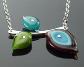 Reserved - Triple Glass Leaf Necklace in Brown, Turquoise, Teal, and Green