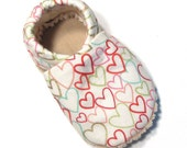 Cream Hearts Soft Soled Baby Shoes 12-18 mo