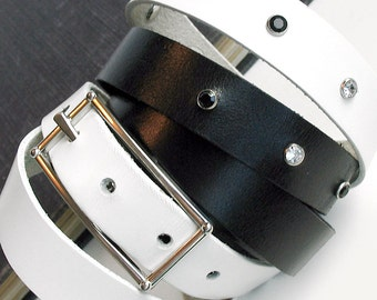 Black and White Leather Belt Double Wrap with Tiny Gems, Handmade in Seattle by Greenbelts