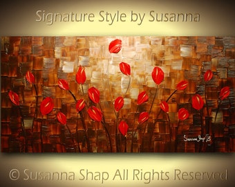 ORIGINAL large impasto landscape abstract red tulips oil painting modern palette knife art by susanna shap 48x24 made2order