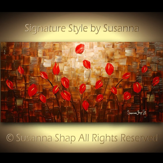 original large impasto landscape abstract red tulips oil painting modern palette knife art by susanna 48x24 made2order