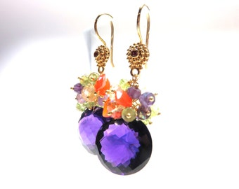 Huge Purple Amethyst Round Briolette (32.80 ct), Red Shappire Earring Hook and Gold Earrings