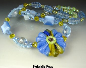SALE. Glass Lampwork Beads. Handmade Beaded Necklace, Pendant. Jewelry Art. PERIWINKLE PANSY by Openstudio. Openstudiobeads.