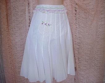 SALE..Vintage Upcycled Embellished Prairie Bohemian Gypsy Skirt Crochet Pearls Crystals OOAK