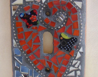Mosaic Light Switch Cover - Orange Heart With Butterlies and Flowers