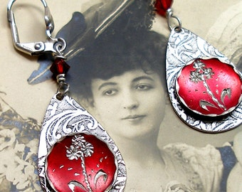 Victorian BUTTON earrings, Wildflowers in red on silver. One of a kind jewellery.