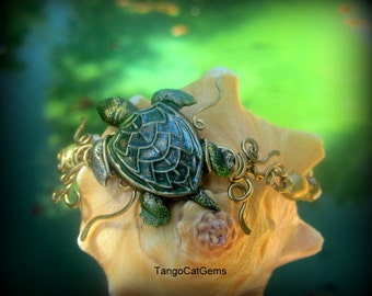Honu Green Sea Turtle Bracelet  and Earrings