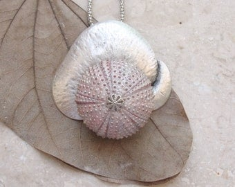 Metallic Pink Sea Urchin Lotus Necklace Beach Jewelry