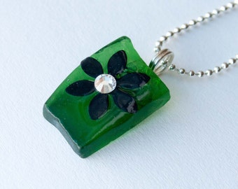 Green Flower Seaglass Pendant, Swarovski Crystal Necklace, Recycled Glass