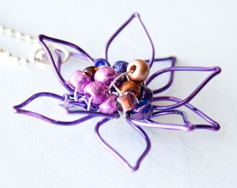 Amethyst Bejeweled Flower Necklace, Wire Wrapped Flower, Gifts for Her
