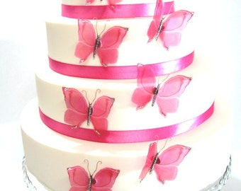 12 Hot Pink Stick on Butterflies, Wedding Cake Toppers, Butterfly Cake Decorations UNGLITTERED