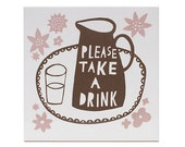 Please Take a Drink   Ceramic Tile (Brown/ Dusky Pink)