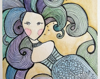 Blue Mermaid Speechless Girl - Original watercolor 6 x 8