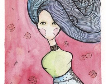 Blue Hair and Leaves Speechless Girl - 11 x 17 Print