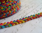 Beautiful Bright Multi Colored  Woven Gimp Braid, approx 3/8 wide