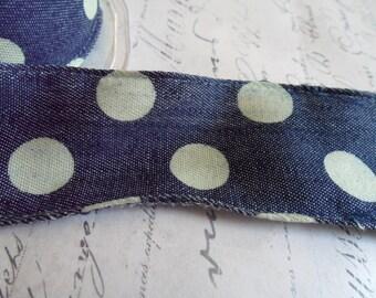 Polka Dot Denim Wired Ribbon, 1.5 inches wide
