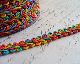 Beautiful Bright Multi Colored  Woven Gimp Braid, approx 3/8 wide
