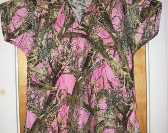 Pink Camo Scrub Shirt Any Size