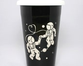 Astronaut Love Travel Mug - BLACK insulated ceramic to-go cup - love in space