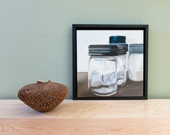 Original Oil Painting on Wood Panel Corona Jar Canning Jar Mason Jar Painting Original Artwork Food Art Kitchen Art Realistic Art Foody Art