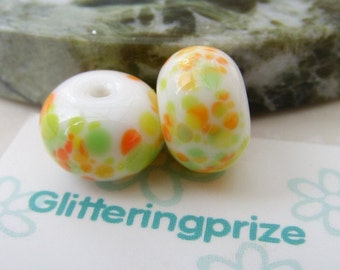 Lampwork Glass Beads Mini Citrus Burst Pair