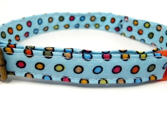 LAST ONES - The Dot-o-Matic - Organic Cotton CAT Collar Breakaway Safety - All Antique Brass Hardware