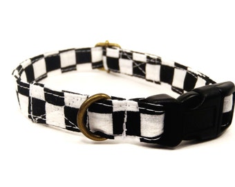 Diner Kitty - Retro Mod Black White Checkered Organic Cotton CAT Collar Breakaway Safety - All Antique Brass Hardware