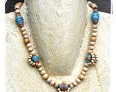 Modern tribal paper bead necklace - Simple African beaded necklace made with paper, bone, copper, and clay - Gift for her