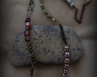 Original Tribal Necklace with Antique Copper, Brass, Hemp, Glass, Collected Assorted Beads, Handmade